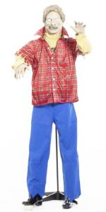 Life Size Latex Plaid Shirt Zombie Halloween Prop with Stand