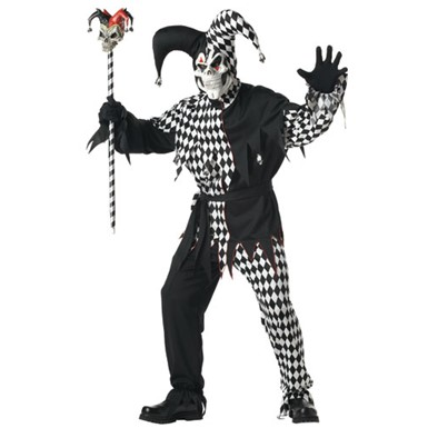 Mens Black & White Evil Jester Costume