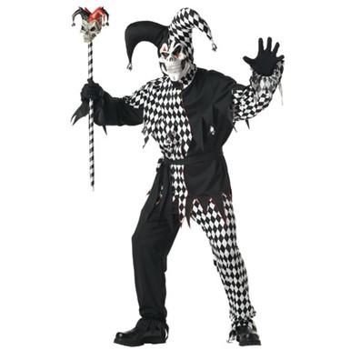 Mens Black & White Evil Jester Costume