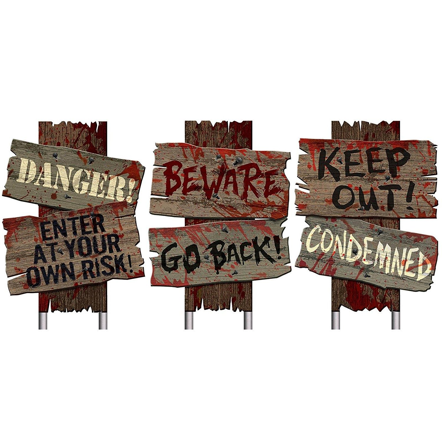 Set of 3 Halloween Cemetery Sidewalk Signs Danger Keep Out Beware