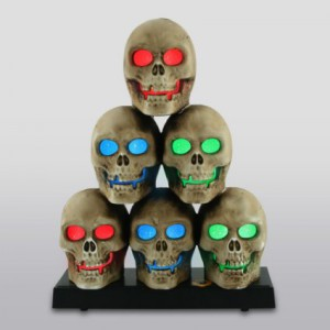 "6 piece Stacked Skull Pyramid with led lights – Plays ""Another One Bites the Dust"""